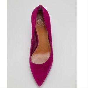 Tory Burch Ivy low heel pink suede pump
